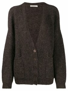 Mes Demoiselles ribbed knit cardigan - Brown