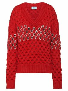 Prada crystal embellished jumper - Red