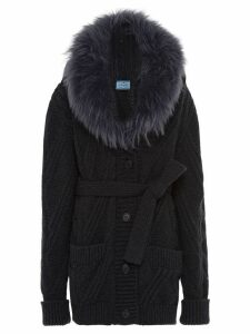 Prada fur collar knitted cardigan - Grey