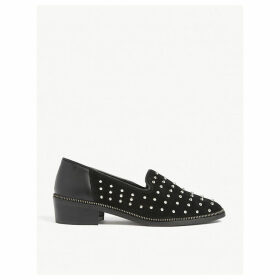 Studded suede loafers
