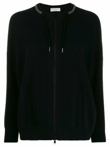 Brunello Cucinelli zipped drawstring cardigan - Black