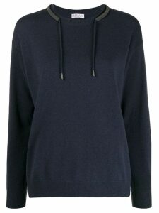 Brunello Cucinelli drawstring fitted sweater - Blue