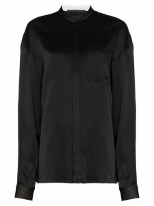 Haider Ackermann collarless silk shirt - Black
