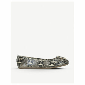 Mission snake-embossed faux-leather ballet flats
