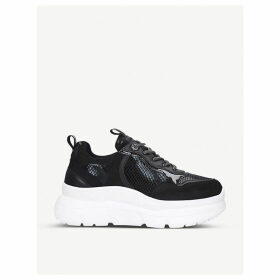 Logic faux-suede and snakeskin-embossed flatform trainers