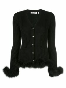 Opening Ceremony ribbed feather-trimmed cardigan - Black