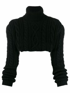 Andrea Ya'aqov cable knit cropped jumper - Black