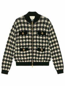 Gucci houndstooth bomber jacket - Black