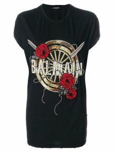 Balmain oversized beaded logo T-shirt - Black