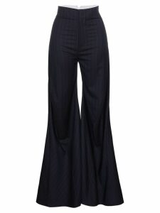 Wright Le Chapelain Pinstripe bias cut flared trousers - Blue