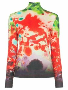 Samuel Gui Yang turtleneck tie-dye top - Red