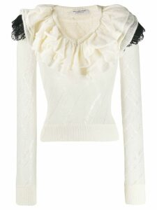 Philosophy Di Lorenzo Serafini ruffle trim knitted top - White