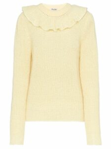Miu Miu ruffle knitted sweater - Neutrals