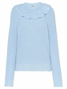 Miu Miu ruffle knitted sweater - Blue
