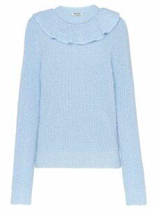 Miu Miu ruffle knitted sweater - Blue