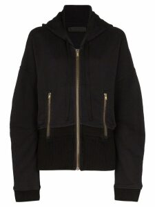Haider Ackermann elongated hem zip-front hoodie - Black