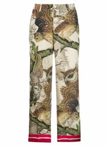 F.R.S For Restless Sleepers owl print trousers - NEUTRALS