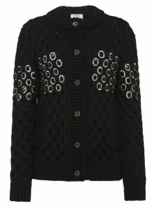 Prada embellished panel knit cardigan - Black