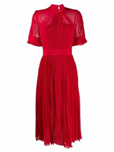 Self-Portrait pleated tie neck dress - Red