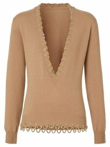 Burberry Chain Detail Cashmere Sweater - NEUTRALS