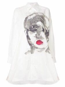 Yohji Yamamoto painting face long shirt - White
