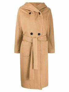 Paltò hooded double breasted coat - Brown