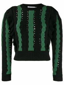 Self-Portrait two tone knitted top - Green