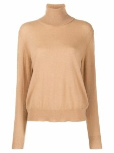 Laneus roll neck fine knit top - Brown