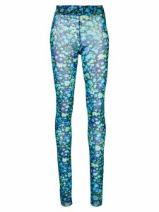 GANNI Floral-print mesh leggings - Blue