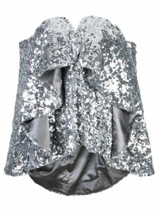 Halpern ruffled sequined top - SILVER
