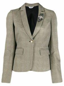 LIU JO ruffled check print blazer - NEUTRALS