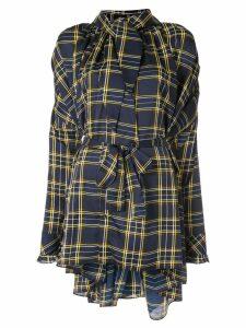 Blindness tartan asymmetric shirt - Blue