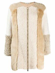 Stella McCartney Fur Free Fur zip-up patched jacket - NEUTRALS