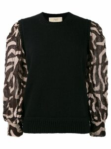 Maison Flaneur contrasting sleeve jumper - Black
