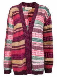 Maison Flaneur mixed pattern cardigan - PINK