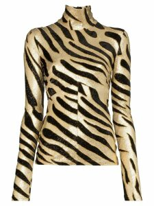 Paco Rabanne lurex tiger-print jumper - Black