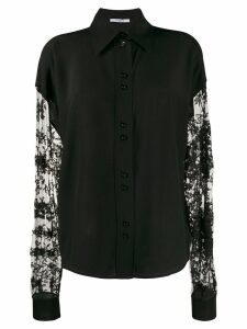 Givenchy floral lace sleeves button-up shirt - Black