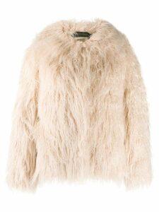 Bellerose oversized faux-fur jacket - NEUTRALS