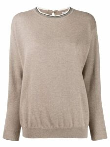 Brunello Cucinelli bead trim jumper - Neutrals