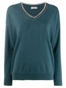 Brunello Cucinelli embellished v-neck jumper - Blue