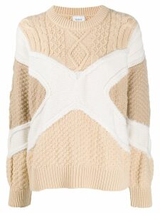 Barrie colour blocked knitted jumper - Brown