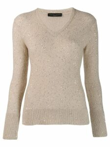 Fabiana Filippi sequin V-neck jumper - NEUTRALS