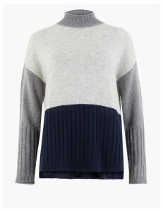 M&S Collection Colour Block Funnel Neck Relaxed Fit Jumper