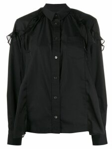 Sacai ruffle trim asymmetric shirt - Black