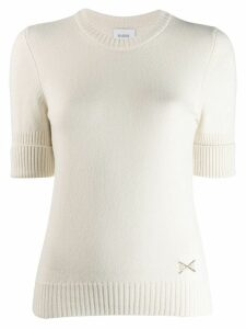 Barrie cashmere roll cuff top - White