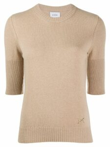 Barrie cropped-sleeve cashmere top - Brown