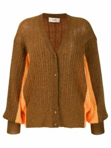 Maison Flaneur oversized two-tone cardigan - Brown