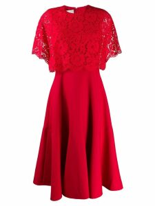 Valentino lace layer pleated dress - Red