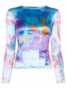 Chopova Lowena Girl printed satin long-sleeved top - Blue