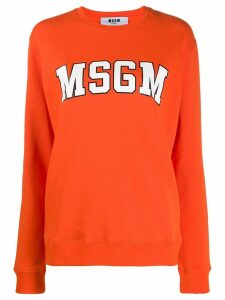 MSGM College logo print sweater - ORANGE